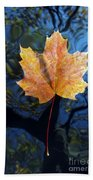 Autumn Leaf On The Water Beach Towel