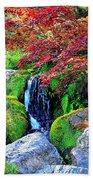Autumn Waterfall - Digital Art 5x3 Beach Towel