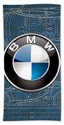 B M W 3 D Badge Over B M W I8 Blueprint  Beach Towel