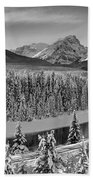 Banff Bow River Black And White Beach Towel