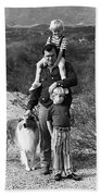Barry Sadler With Sons And Family Collie Tucson Arizona 1971 Beach Towel