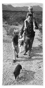 Barry Sadler With Sons Baron And Thor Taking A Stroll 1 Tucson Arizona 1971 Beach Towel