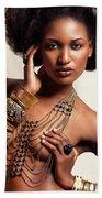 Beautiful African American Woman Wearing Jewelry Beach Towel