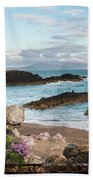 Beautiful Landscape Image Of Rocky Beach With Snowdonia Mountain Beach Towel