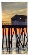Belmar Fishing Pier Sunrise Beach Towel