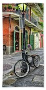 Bike And Lamppost In Pirate's Alley Beach Towel
