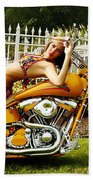 Bikes And Babes Beach Towel by Clayton Bruster