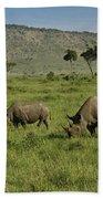 Black Rhinos Beach Towel