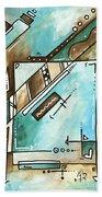 Blue Bonnet Original Abstract Pop Art Style Acrylic Painting By Madart Beach Towel