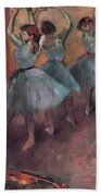 Blue Dancers Beach Towel by Edgar Degas