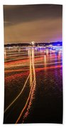 Boats Light Trails On Lake Wylie After 4th Of July Fireworks Beach Towel