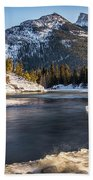 Bow River With Mountain View Banf National Park Beach Towel