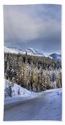 Bow Valley Parkway Winter Conditions Beach Towel