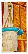 Breeches Buoy In Sleeping Bear Point Boathouse In Sleeping Bear Dunes National Lakeshore-michigan Beach Towel