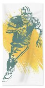 Brett Favre Green Bay Packers Water Color Art 1 Beach Sheet