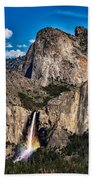 Bridalveil Falls Rainbow #2 Beach Towel