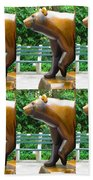 Bronze Statue Sculpture Of Bear Clapping Fineart Photography From Newyork Museum Usa Fineartamerica Beach Towel