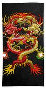 Brotherhood Of The Snake - The Red And The Yellow Dragons Beach Towel by Serge Averbukh