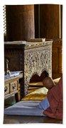 Buddhist Monk In Prayer Beach Towel