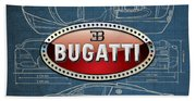 Bugatti 3 D Badge Over Bugatti Veyron Grand Sport Blueprint  Beach Sheet