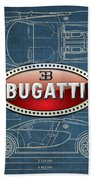 Bugatti 3 D Badge Over Bugatti Veyron Grand Sport Blueprint  Beach Towel by Serge Averbukh