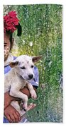 Burmese Girl With Puppy Beach Towel