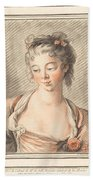 Bust Of A Young Woman Looking Down Beach Towel