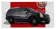 Cadillac Escalade With 3 D Badge  Beach Towel
