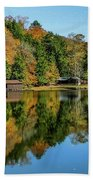 Camp Blanton Autumns Reflection Beach Towel