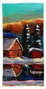 Canadian Art Laurentian Landscape Quebec Winter Scene Beach Towel
