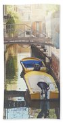 Canals Of Venice With Instagram Vintage Style Filter Beach Towel