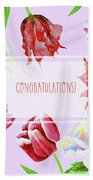 Card With Tulips And Peonies Beach Towel