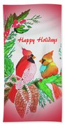 Cardinals Painted By Judith Brilhamte Beach Towel