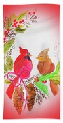 Cardinals Painted By Linda Sue Beach Towel