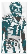 Carson Wentz Philadelphia Eagles Pixel Art 6 Beach Towel