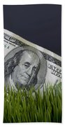 Cash In The Grass. Beach Towel