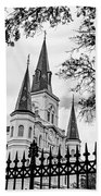 Cathedral Basilica - Square Bw Beach Towel