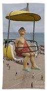 Caveman Above Beach Santa Cruz Boardwalk Beach Towel