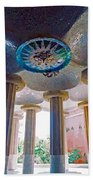 Ceiling Boss And Columns, Park Guell, Barcelona Beach Towel