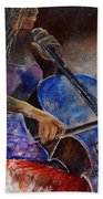 Cello Player  Beach Towel