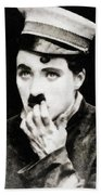 Charlie Chaplin, Vintage Actor And Comedian Beach Towel
