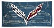 Chevrolet Corvette 3 D Badge Over Corvette C 6 Z R 1 Blueprint Beach Towel