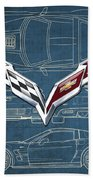 Chevrolet Corvette 3 D Badge Over Corvette C 6 Z R 1 Blueprint Beach Towel
