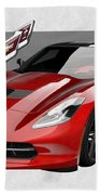 Chevrolet Corvette  C 7  Stingray With 3 D Badge  Beach Sheet