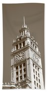 Chicago Clock Tower Beach Towel