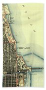 Chicago Old Map Beach Towel