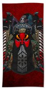 Chinese Masks - Large Masks Series - The Red Face Beach Towel by Serge Averbukh