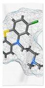 Chlorpromazine, Molecular Model Beach Towel