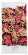 Chocolate Cake With Strawberry On Porcelain Plate Beach Towel