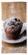 Chocolate Muffin With Powdered Sugar Beach Towel